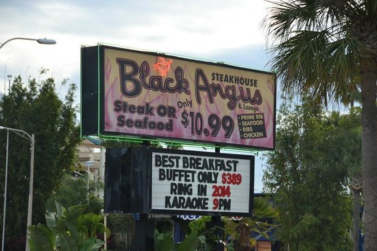 Black Angus Steakhouse : Famous breakfast sign
