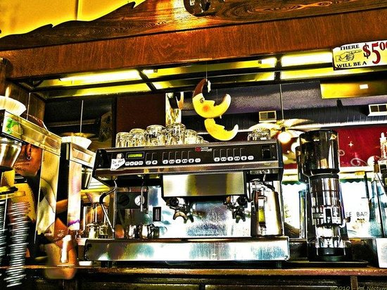 Coco Moon Coffee Bar: The beautiful back bar and espresso machine.