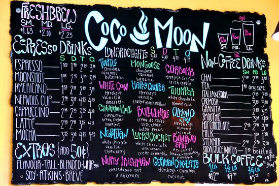 Coco Moon Coffee Bar: The menu.