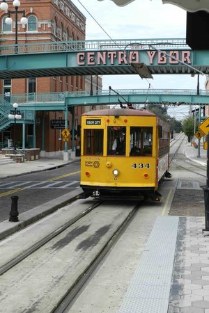 Tampa Marriott Waterside Hotel & Marina: Le trolleybus, station no 4 (Ybor City, downtown)