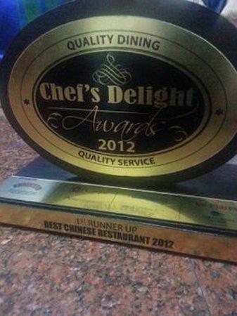Taste of China : 1st Runner up for best Chinese Restaurant
