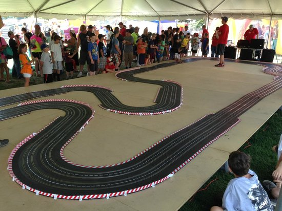 Watkins Glen International: a replica of the track for the kids to race cars