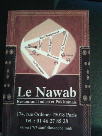 Le Nawab : la carte du restaurant
