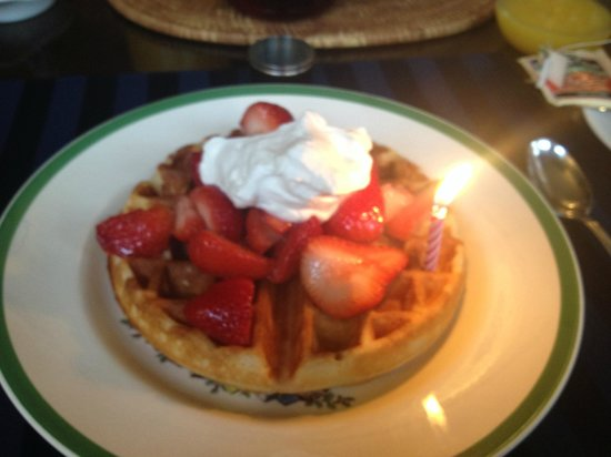 Carolina Bed & Breakfast: Belgian Waffles with homemade whipped cream (mine with a candle for my birthday-small touches)