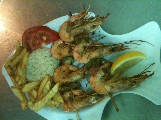 On The Rocks Restaurant Telendos: Fresh Prawn Souvlaki