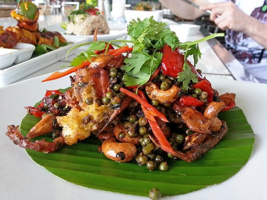 Metro Hassakan: soft shell crab , Kampot peppercorns