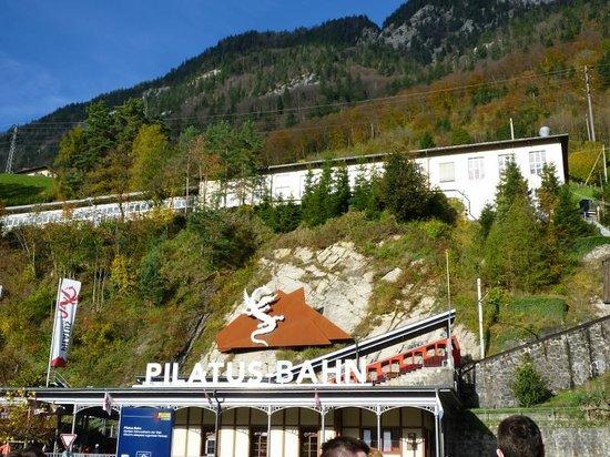 Mount Pilatus : Entrance Cogwheel Railway to the top