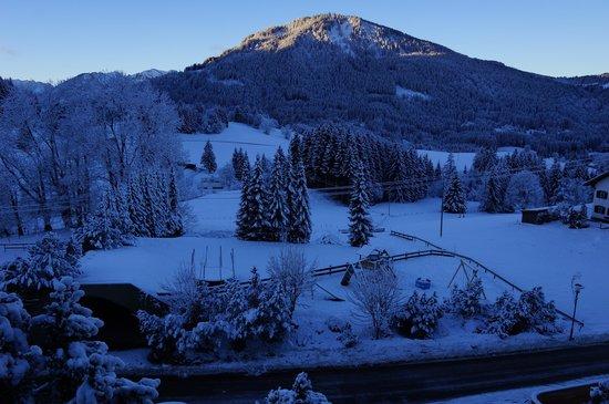 Sunrise from room in Berghotel Tirol
