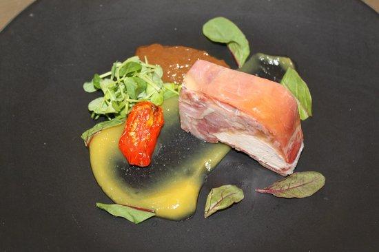 George Hotel : Ham Hock and Guinea Fowl Terrine with Orange Fluid Gel and Sultana