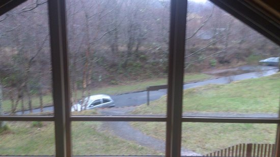 Forest Holidays Strathyre, Scotland: View from upstairs in cabin 14 down to our car parking space