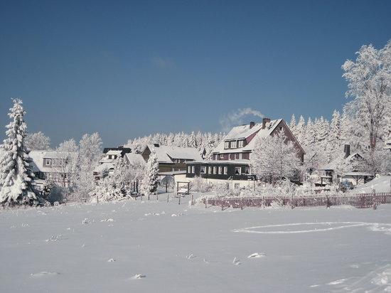 Landschafts-Gasthaus Bräutigam Hanses: Winterbild vom Rodelhang aus