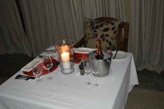 Dulini River Lodge : dinner setup in room honeymoon