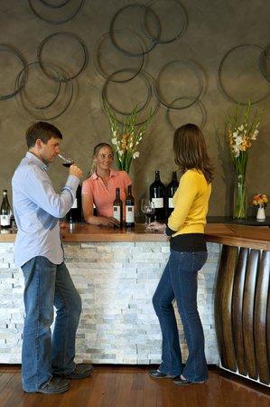 Pizzini Wines: Tasting wine at cellar door.