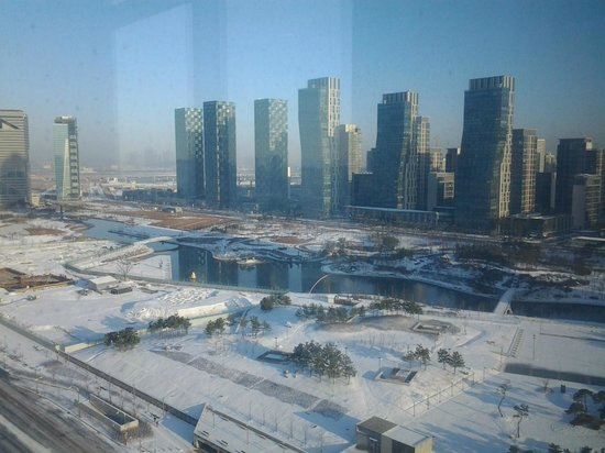 Orakai Songdo Park Hotel: View of Central Park from dining room