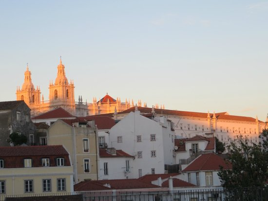 Sunset view of a church in Alfama