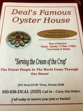 Deal's Famous Oyster House : Menu Cover