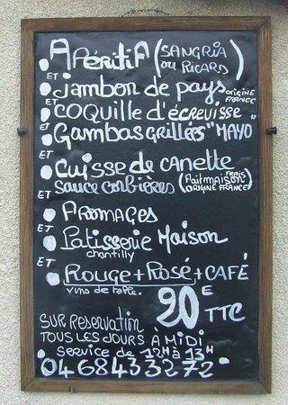Montseret, Frankrijk: Menu du Restaurant Le Dauphin