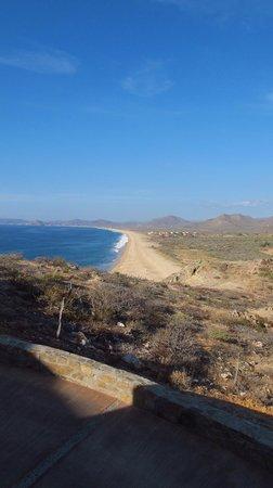 Arriba de la Roca: 5 mile long beach seen from our balcony