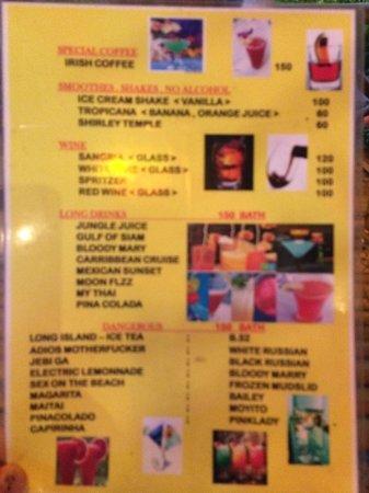 Chotaha Restaurant: Auszug aus der Cocktailkarte