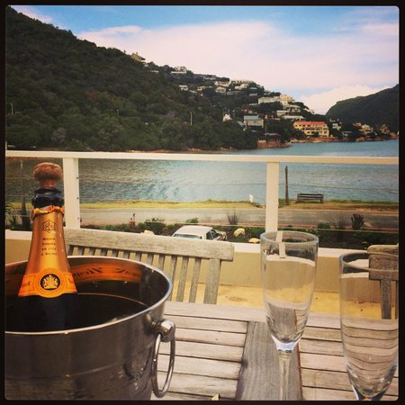 Amanzi Island Lodge: View from the deck and the champagne!