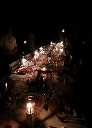 Rhino Walking Safaris at Plains Camp: Table sparkling for New Years eve celebrations