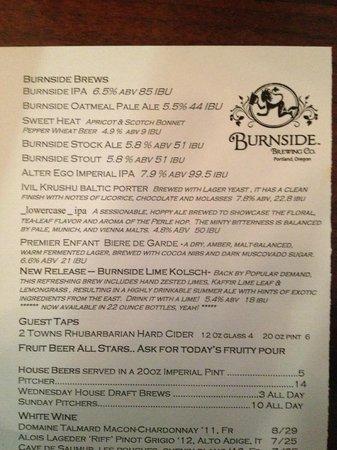 Burnside Brewing Company: Burnside Beers