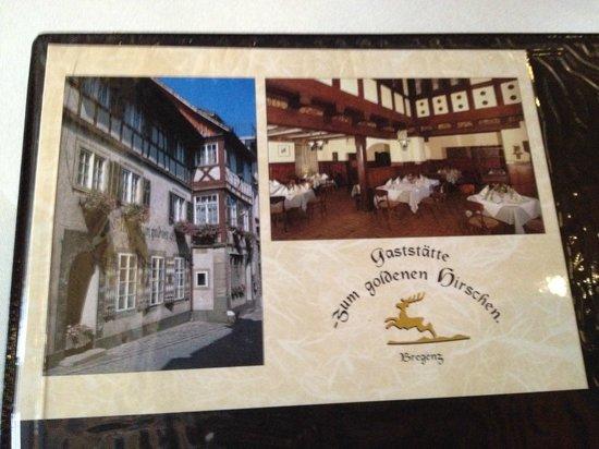 Goldener Hirschen: menu