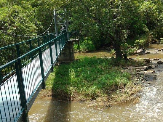 Lowveld National Botanical Garden: suspended bridge over the river
