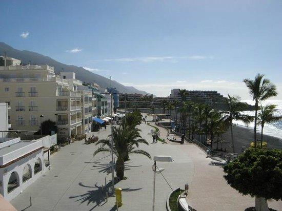 Apartamentos Playa Delphin: View to south (promenade, beach)