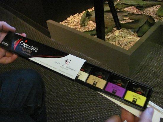Cité du Chocolat Valrhona : Plumier de dégustation (offert à l'entrée)
