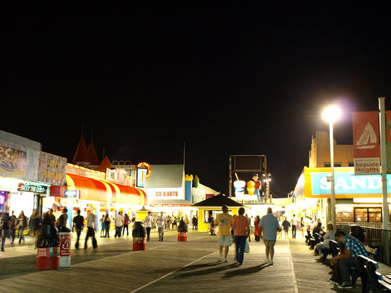 Seaside Best Rentals: Boardwalk At Night. We're Steps Away From All The Action But In A Quiet Family-Friendly Neighbor
