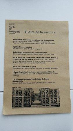 Hotel Aire de Bardenas : Uno de los menús