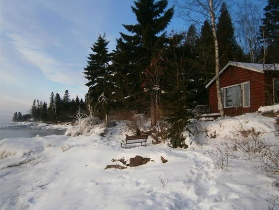 Solbakken on Superior: Looking south along the shore.  Red cabin is the Jonas house