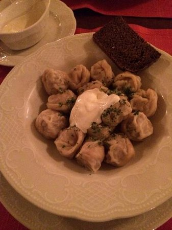Café Pushkin : Russian dumplings with sour cream
