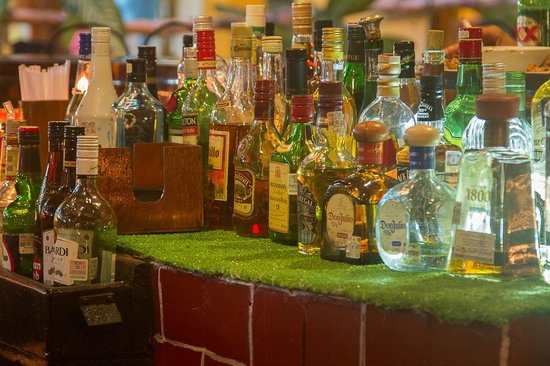 Las Margaritas: An array of fine liqueurs at your disposal.