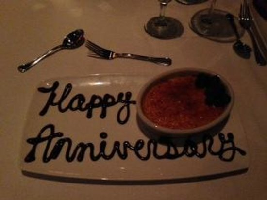 My Creme Brulee With A Special Message From The Restaurant