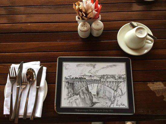 The Victoria Falls Hotel: The breakfast table.