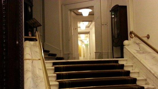 Hotel Majestic Roma: La zona ascensore e il corridoio delle camere al piano rialzato.