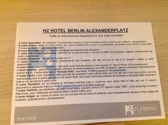 H2 Hotel Berlin Alexanderplatz: foglio al check in