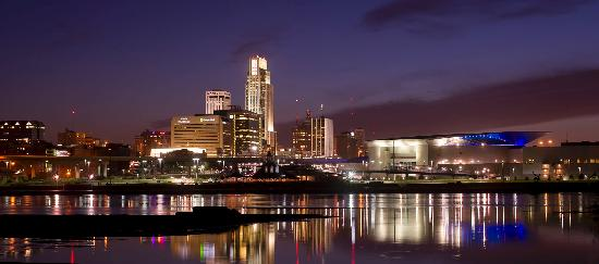 Nebraska: The Omaha skyline is a beautiful sight at night.