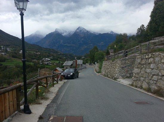 Looking down valley towards Aosta from La Fattoria di Roven