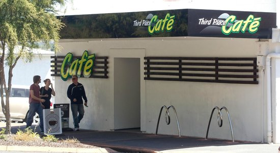 Third Place Cafe entrance from street and bike stands