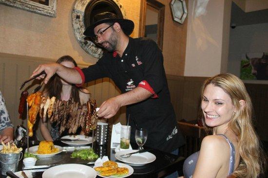 Vaca Brava : Being helped by a super waiter.