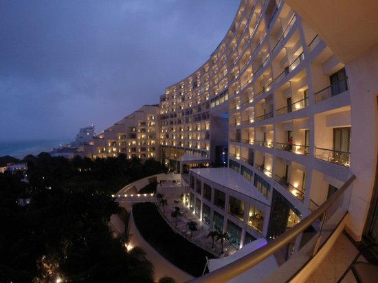 Live Aqua Cancun All Inclusive: Photo of the hotel at night from our room.