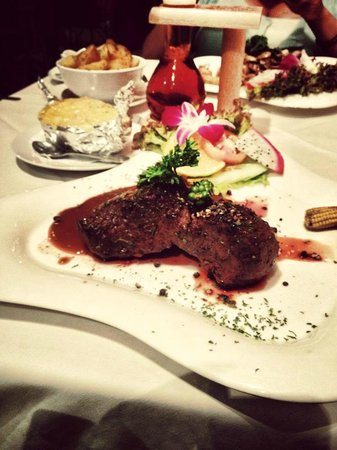 Carnivore Steak and Grill : Sirloin (i think) - hubby's choice. Medium well. Topped with crushed pepper.