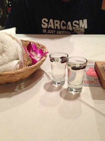 Carnivore Steak and Grill : After dinner Sambuca shots with coffee beans (also complimentary)