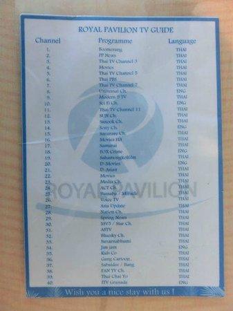 Royal Pavilion Hua Hin : TV Liste 1