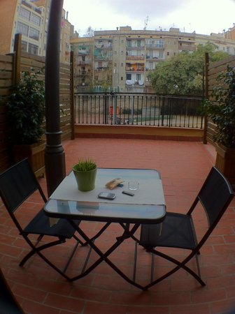 "Hostal Live Barcelona: nice terrace with views to a characteristic courtyard in ""El Eixample""..."