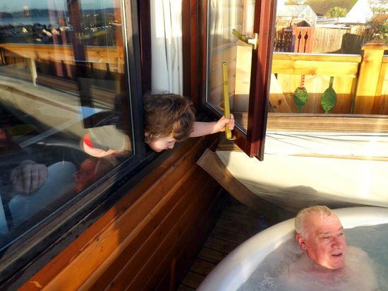 Beverley Holidays: Grandson wants to come in.