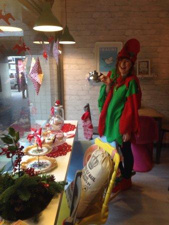 Geranium Coffee: Christmas elf waitress
